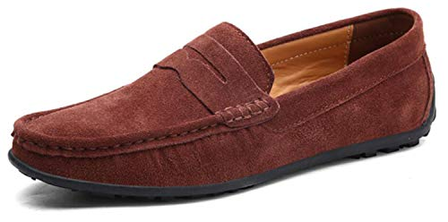 (Go Tour Mens Driving Penny Loafers Suede Moccasins Slip On Casual Dress Boat Shoes Dark Brown 44)