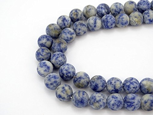jennysun2010 Natural Matte Frosted Blue Spot Gemstone 6mm Round Loose 60pcs Beads 1 Strand for Bracelet Necklace Earrings Jewelry Making Crafts Design - Frosted Spot