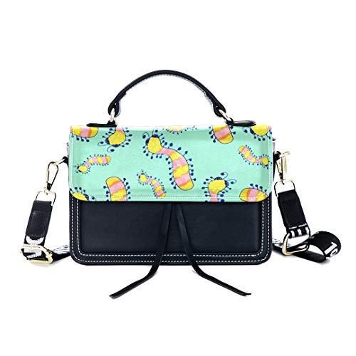 - Fashion Unique Handbag Caterpillar Reptile Hand Catton Print Shoulder Bag Top Handle Tote Flap Over Satchel Purses Crossbody Bags Messenger Bags For Women Ladies