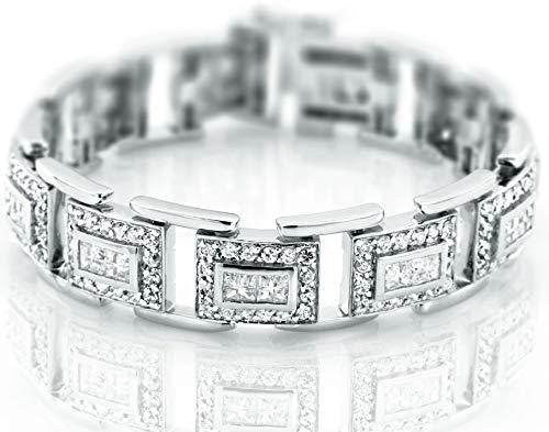 Sterling Manufacturers Men's Fancy Sterling Silver .925 Bracelet Channel-Set Princess Prong-Set Round shaped Cubic Zirconia (CZ) Stones, Box Lock, Platinum Plated. Sizes 8
