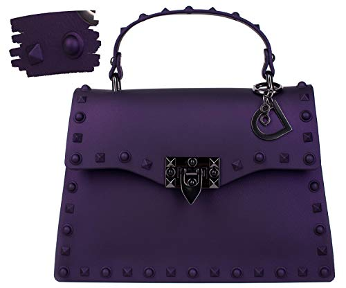 DASTI Designer Inspired Studded Shoulder Motorcycle rivets Jelly Bag womans handbags carteras de mujer en oferta de marcas Purple Medium Crossbody Purses ()
