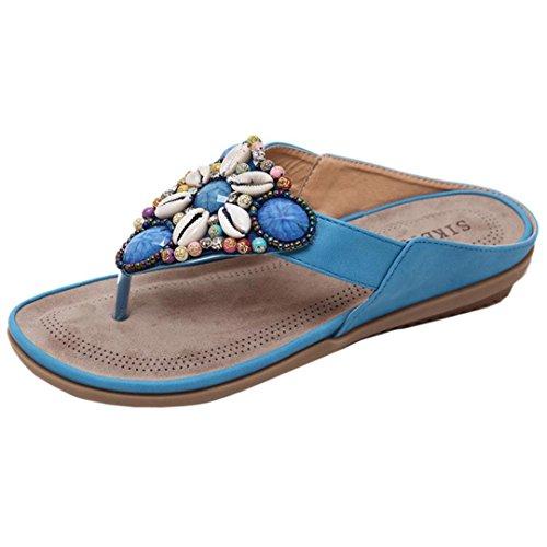 Xmansky Damen Zehentrenner Flip Flops Sommer Bohemia PU Leder Flach Rutschfeste Sandalen Blau