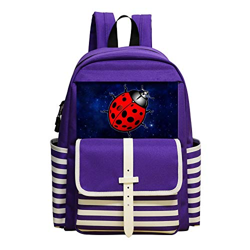 (Oiguio Beetles Clipart Animated School Backpack Bookbag Daypack Shoulder Bag Purple)