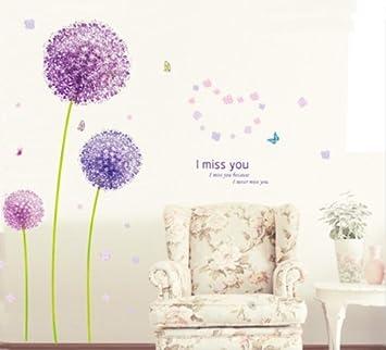 Sunnicy® LILA Löwenzahn Romantisch Schönen Pusteblume Im Wind Wandtattoo  Blumen U0026 Schmetterling Wandaufkleber Wandsticker