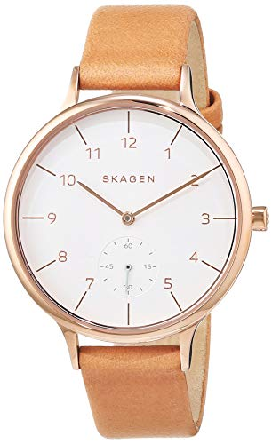 Skagen Women's Anita Quartz Stainless Steel and Leather Casual Watch, Color: Rose Gold-Tone, Brown (Model: SKW2405) (Skagen Womens Watch Date)