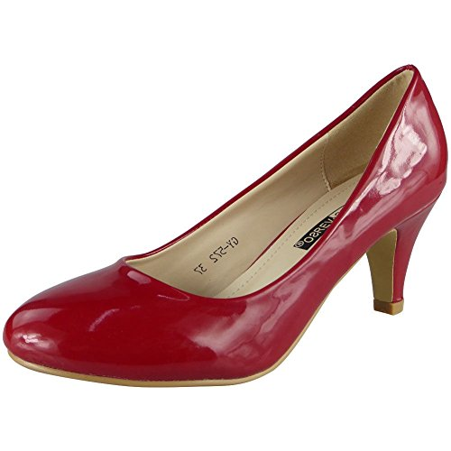 Damen Glänzend Patent Beiläufig Mitte Kätzchen Patent Gericht Schuhe 36-41 Rot