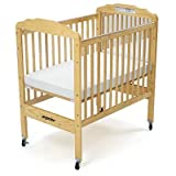 Angeles Compact Adjustment Clear View Fixed Side Crib with Mirror, Natural