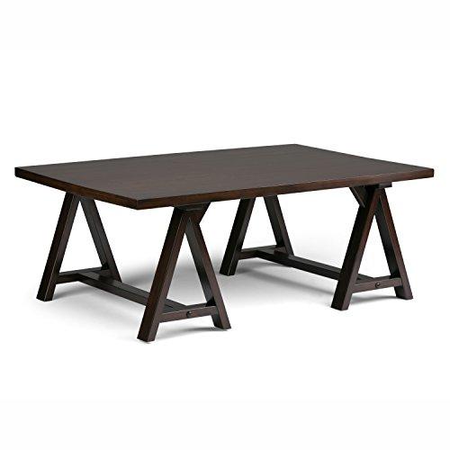 Set Solid Pine Coffee Table (Simpli Home Sawhorse Solid Wood Coffee Table, Dark Chestnut Brown)