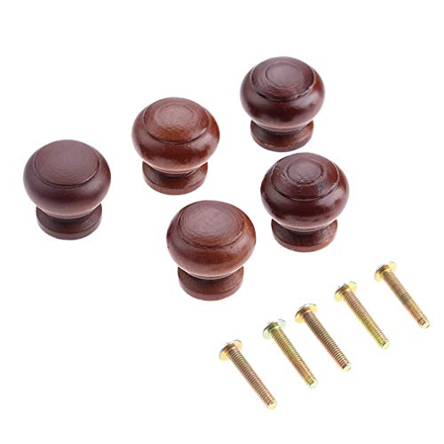 Mahogany Dresser Knobs 5 pcs. Dark Brown Solid Wood - Suitable for Most of ()