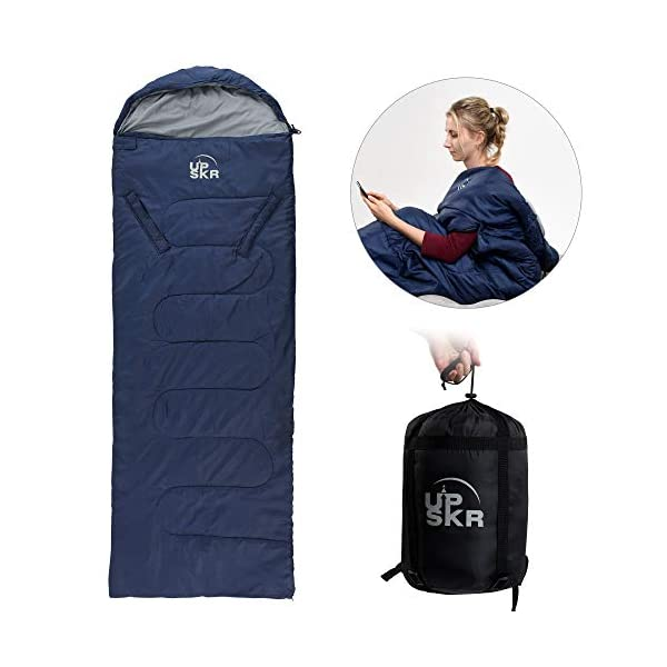 UPSKR Sleeping Bag Lightweight & Waterproof for Adults & Kids Cold Weather, 4 Season Rectangular Sleeping Bags Great for Indoor & Outdoor Use Hiking Backpacking Camping Traveling with Compression Sack 3