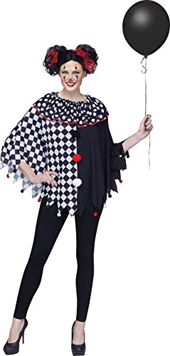 Womens Fun Clown Poncho Costume Checkered Polka Dots One size Halloween Pom-poms