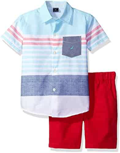 Nautica Boys' Short Sleeve Button Down Shirt and Pull on Short Set