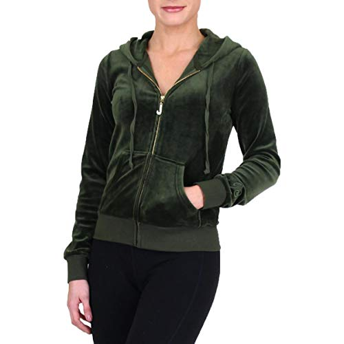 Juicy Couture Black Label Womens Luxe Velour Robertson Jacket Green Size XS