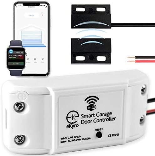 eKyro Smart Garage Door Opener - Universal WiFi Remote Controller Compatible with Alexa, Google Home, iPhone, Siri, Android, 1 2 or 3 Door Security Systems, IFTTT, Adapter Required for Some Openers
