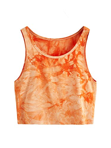 SweatyRocks Women's Summer Sleeveless Tie Dye Casual Crop Tank Top Shirts Orange L