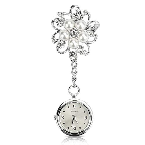 WIOR Nurse Watch Flower Lapel Pin White Steel Watch Paramedic Doctor Pocket Watch Quartz Movement Nurses Watch Clip-on Hanging Watch - Silver