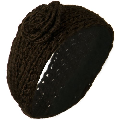 Large Rose Accent Woman's Head Band - Brown OSFM