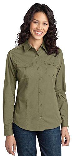 Port Authority Ladies Stain-Resistant Roll Sleeve Twill Shirt, Vintage Khaki, XX-Large ()