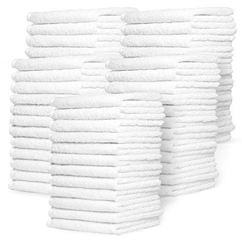 Zeppoli Wash Cloth Towels by Royal, 60-Pack, 100% Natural Cotton, 12 x 12, Soft and Absorbent, Machine Washable, White…