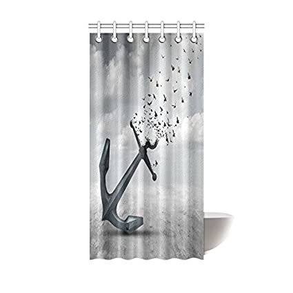 InterestPrint Home Bathroom Decor Vintage Anchor Bird Shower Curtain Hooks 36x72 Inch Grey Color Fabric