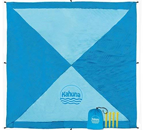 (Kahuna Sand Free Beach Blanket - Picnic Blanket - Outdoor Blanket - Beach Accessories - No Sand Beach Sheet (Extra Large XL 8x8 Feet) - Light Blue)