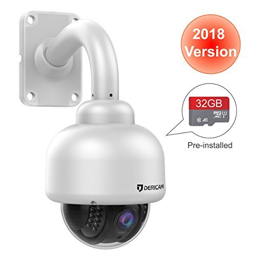 Dericam Outdoor Wireless Security Camera ,Outdoor PTZ Camera ,Crystal Full HD 1080P,4 X 0ptical Zoom,Auto focus ,Pre-installed 32GB Memory Card ,S2-32G White Dericam