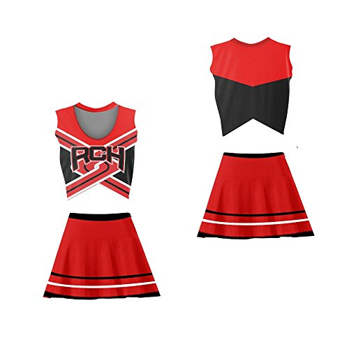 borizcustoms Bring It Torrance Shipman (K. Dunst) Rancho Carne High School Toros Cheerleader Uniform Stitch Sewn Colors (Large, red)