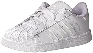 adidas Originals Superstar Foundation C Sneaker (Little Kid),White/White/White,5 M US Toddler