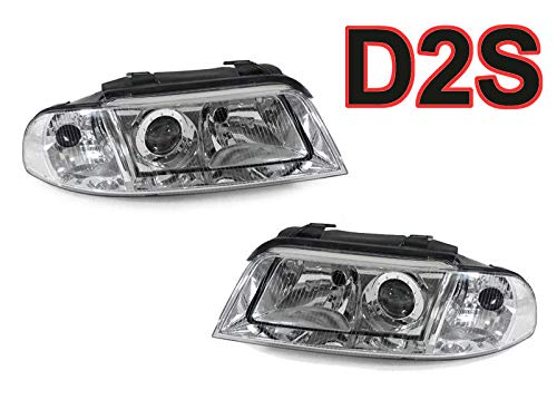 DEPO Xenon D2S Chrome Clear Housing Xenon Headlights Compatible Fits For 1999-2001 Audi A4 / 2000-2002 S4 B5 (Must have Factory HID) - Compatible and Fits For Audi