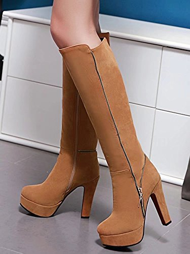 AIYOUMEI Damen Geschlossen Blockabsatz High Heels Kniehohe Stiefel mit Reißverschluss Warm Winter Plateau Stiefel Schuhe Braun
