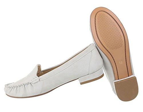 Hochwertige Damen Mokassins | Loafers Slipper | Leder-Optik Flats | Profilsohle Trensen Deko | Segelboot Schuhe | Rutschfeste Sohle | Schuhcity24 Modell Nr1 Hellgrau