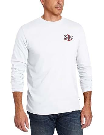 Nautica Men's Long Sleeve Chain Graphic Print Tee, Bright White, Medium