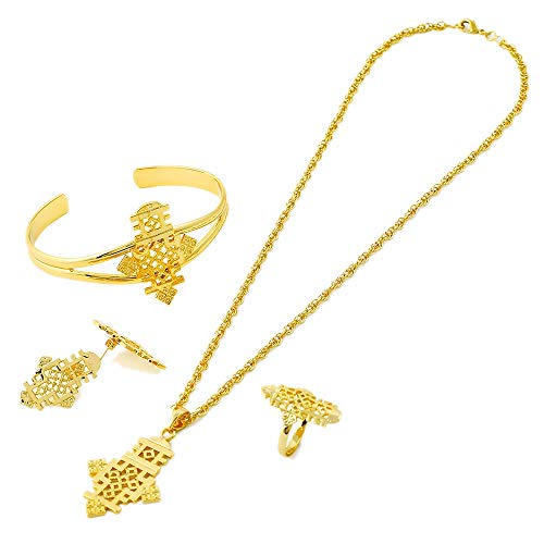 18K Gold Plated Ethiopian Cross Necklace/Earrings/Ring/Bangle Habesha Jewelry ()
