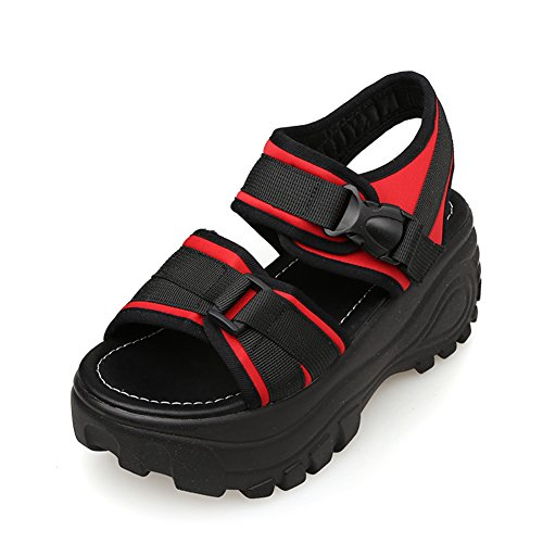 Sandals ZCJB Thick Female Summer Wedges Roman Shoes High Heel Casual Shoes Velcro Muffin Red pj3CZCJ