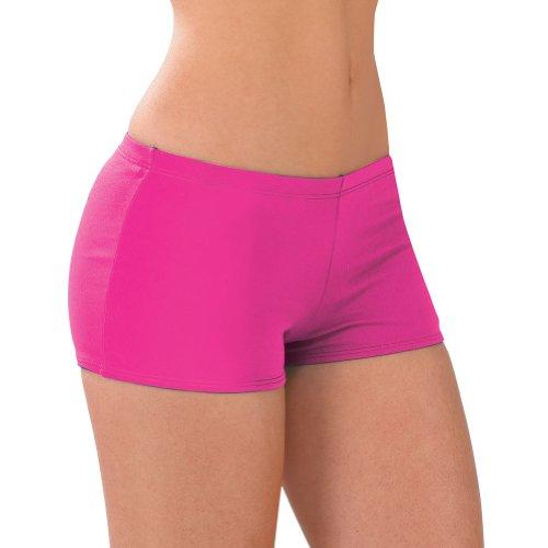 100% Stretch Nylon Low-Rise Boy Cut Cheerleading Brief Trunks, AM, Hot Pink