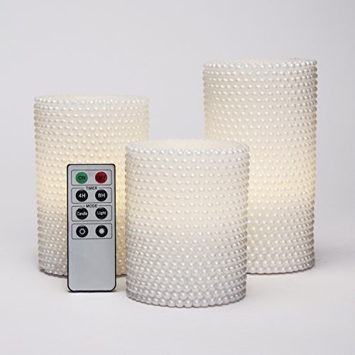 Decorative Textured Flameless Candles Set with Remote, Flickering Pearl Candle by LampLust, 4/8 Hr Timer, Real Wax, White LED Glow, Indoor use - Set of 3 by LampLust (Image #1)