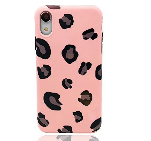 HUIYCUU Case Compatible with iPhone XR Case, Slim Fit Design Soft TPU Leopard Print Pattern Shockproof Thin Protective Girl Women Floral Bumper Back Cover for iPhone Xr, Pink