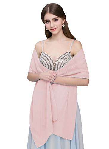 - Kileyi Women's Soft Chiffon Shawl Wrap Scarf for Wedding Evening Formal Dresses Pink 79