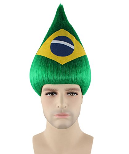 Halloween Party Online Brazil National Flag Troll Wig, Adult (Brazil National Costume Men)