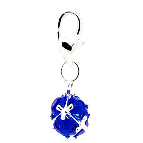 (Birthstone Dangle Charm Pendant for European Clip on Charm Jewelry w/ Lobster Clasp)
