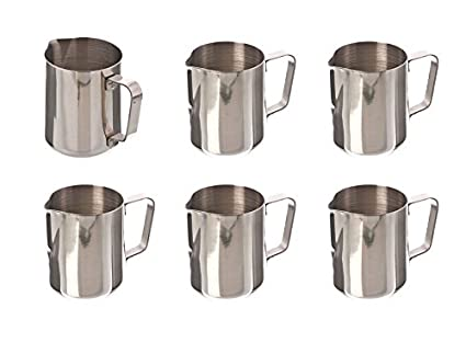 Update International EP-12 Stainless Steel Frothing Pitcher, 12-Ounce, Set of