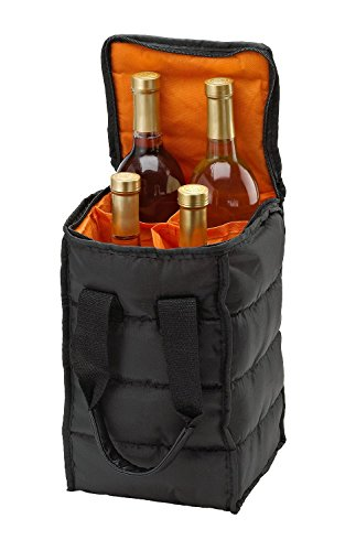 Wine Carrier Tote Bag - 4 Bottle Pockets - Attractive wine bag with thick external padding, zipper and easy to carry handles. The wine tote bag is perfect for travel, picnics or a day at the beach. (Wine Bottle Cooler Bag compare prices)