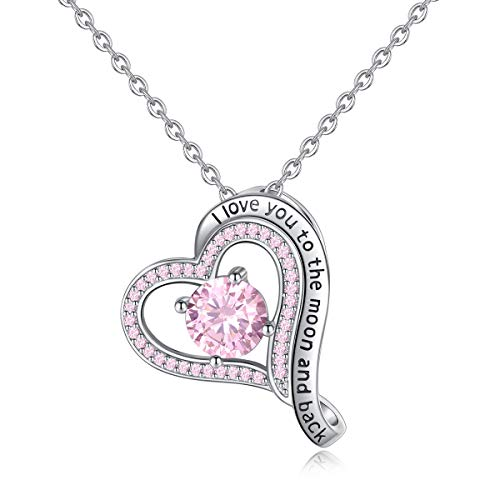 INFUSEU Pink CZ Love Heart Pendant Necklace I Love You To The Moon and Back Sterling Silver Jewelry (Pink Love Necklace)