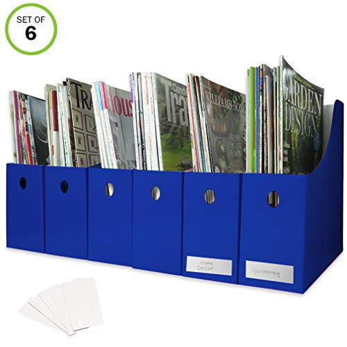 [해외]6 매거진 파일 홀더 책상 주최자 파일 수납라벨 블루 세트 / Evelots Set of 6 Magazine File Holders Desk Organizer File Storage with Labels Blue