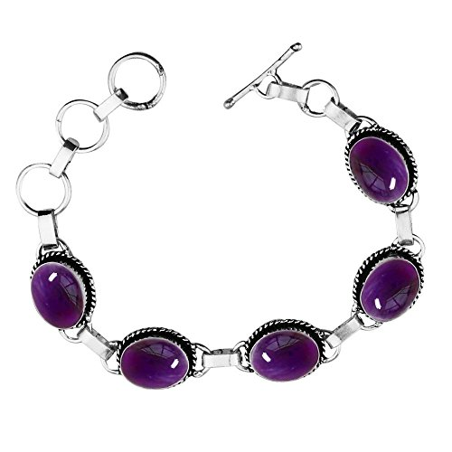 11.50Gms,7.80 Ctw Genuine Amethyst 925 Sterling Silver Overlay Handmade Fashion Bracelet (Ctw Amethyst Bracelet)