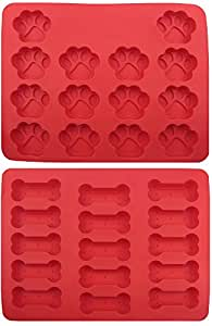 GYBest GGT01 Food Grade Large Ice Cube Trays, Silicone Baking Molds, 2-Pack, Red