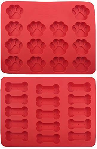 GYBest GGT01 Food Grade Large Ice Cube Trays, Silicone Baking Molds, 2-Pack, Red ()