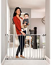 Regalo Easy Step Puerta para bebés de 49 pulgadas, incluye kit de extensión de 4 y 12 pulgadas, paquete de 4 kits de montaje a presión y 4 kits de montaje en pared, color Gris