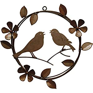 California Home and Garden CH320 Hanging Metal Singing Rusty Birds Wreath with Flowers, 16 Inch Radius, Rustic Look Artwork Brownish Red 16