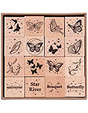 RisyPisy 16pcs Wooden Rubber Stamps